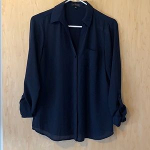 Blue button up blouse from The Limited